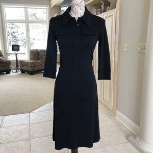 Button Down 3/4 Sleeve Stretch Wool Blend Dress